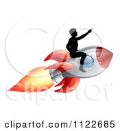 Clipart Of A Silhouetted Man Pointing And Riding On A Rocket Royalty Free Vector Illustration