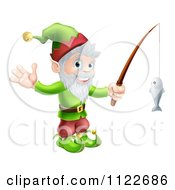 Clipart Of A Happy Christmas Elf Waving And Fishing Royalty Free Vector Illustration