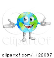 Clipart Of A 3d Happy World Globe Mascot Royalty Free Vector Illustration