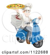 Clipart Of A Happy Pizza Delivery Chef Holding Up A Pie On A Scooter Royalty Free Vector Illustration