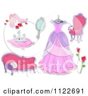Cartoon Of Fairy Tale Princess Items Royalty Free Vector Clipart