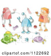 Cartoon Of Robots And Mechanical Items Royalty Free Vector Clipart