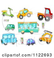 Cartoon Of Cars Buses And Vehicles Royalty Free Vector Clipart