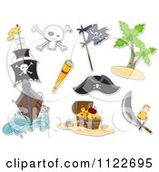 Cartoon Of Pirate Items Royalty Free Vector Clipart