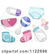 Cartoon Of Baby Items Royalty Free Vector Clipart