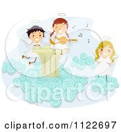 Cartoon Of Angel Kids Singing And Playing A Guitar On A Cloud Royalty Free Vector Clipart