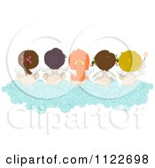 Cartoon Of A Rear View Of Angel Kids Sitting On A Cloud Royalty Free Vector Clipart by BNP Design Studio