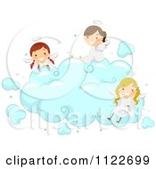 Cartoon Of Angel Kids Sitting On A Cloud Royalty Free Vector Clipart