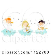 Cartoon Of Angel Kids Playing Instruments On A Cloud Royalty Free Vector Clipart