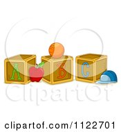 Cartoon Of Alphabet Letter Abc Blocks A B And C Royalty Free Vector Clipart by BNP Design Studio