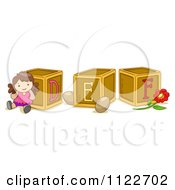 Cartoon Of Alphabet Letter Abc Blocks D E And F Royalty Free Vector Clipart by BNP Design Studio