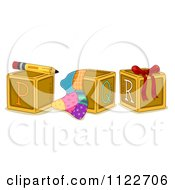 Cartoon Of Alphabet Letter Abc Blocks P Q And R Royalty Free Vector Clipart