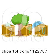 Cartoon Of Alphabet Letter Abc Blocks S T And U Royalty Free Vector Clipart