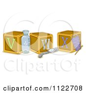Cartoon Of Alphabet Letter Abc Blocks V W And X Royalty Free Vector Clipart