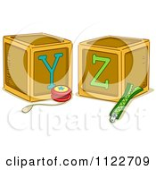Cartoon Of Alphabet Letter Abc Blocks Y And Z Royalty Free Vector Clipart