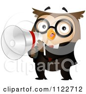 Cartoon Of A Business Owl Holding A Megaphone Royalty Free Vector Clipart by BNP Design Studio
