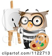 Cartoon Of An Artist Owl Painting Royalty Free Vector Clipart by BNP Design Studio