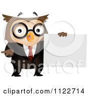 Business Owl Holding A Sign