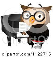 Cartoon Of A Musician Owl Playing A Piano Royalty Free Vector Clipart by BNP Design Studio