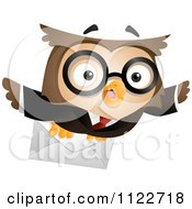 Cartoon Of A Business Owl Flying With A Letter Royalty Free Vector Clipart