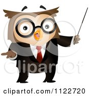 Cartoon Of A Business Owl Using A Pointer Royalty Free Vector Clipart