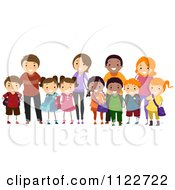 Cartoon Of Happy Diverse School Kids And Their Parents Royalty Free Vector Clipart