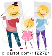 Cartoon Of A Girl And Her Parents Holding Happy Faces Royalty Free Vector Clipart