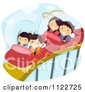 Cartoon Of A Happy Family On A Roller Coaster Ride Royalty Free Vector Clipart by BNP Design Studio