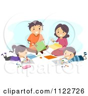 Cartoon Of A Happy Family Making Art Royalty Free Vector Clipart