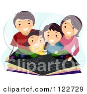 Cartoon Of A Happy Family Reading An Astronomy Book Royalty Free Vector Clipart