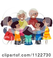 Cartoon Of Happy Black Grandparents And Children Royalty Free Vector Clipart