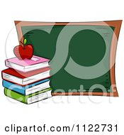Cartoon Of A Book Pile And Apple By A Chalk Board Royalty Free Vector Clipart by BNP Design Studio