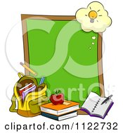 Cartoon Of A Chalkboard With A Light Bulb And School Materials Royalty Free Vector Clipart
