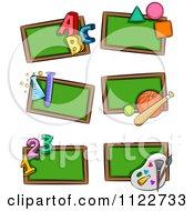 Cartoon Of School Subject Chalk Boards Royalty Free Vector Clipart
