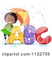 Cartoon Of A Happy Black Girl With An Umbrella Over ABC Royalty Free Vector Clipart