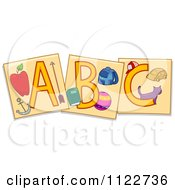 Cartoon Of Educational Abc Letter Flash Cards Royalty Free Vector Clipart