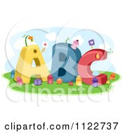 Cartoon Of Letters A B And C With Crayons Royalty Free Vector Clipart