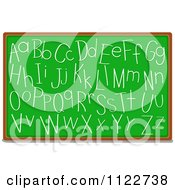 Cartoon Of Alphabet Letters Written On A Chalk Board Royalty Free Vector Clipart