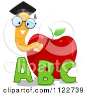 Cartoon Of A Happy Nerdy Worm In An Apple With Letters Royalty Free Vector Clipart