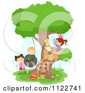Cartoon Of Happy Diverse School Children Playing At A Tree House Royalty Free Vector Clipart by BNP Design Studio