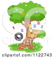 Cartoon Of A Tree House Ewith Numbers And Letters Royalty Free Vector Clipart by BNP Design Studio