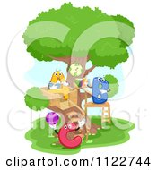 Cartoon Of A Tree House With Letter Characters Royalty Free Vector Clipart by BNP Design Studio