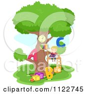 Cartoon Of A Happy Boy Reading A Book In A Tree House Royalty Free Vector Clipart by BNP Design Studio