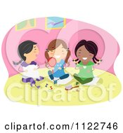 Cartoon Of Happy Girls At A Slumber Party Royalty Free Vector Clipart