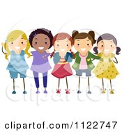 Cartoon Of A Group Of Happy Diverse Girls Royalty Free Vector Clipart