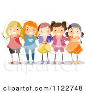 Cartoon Of A Group Of Happy Girls Royalty Free Vector Clipart