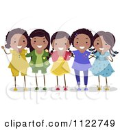 Cartoon Of A Group Of Happy Black Girls Royalty Free Vector Clipart