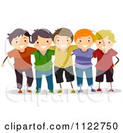 Cartoon Of A Group Of Happy Boys Royalty Free Vector Clipart