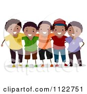 Cartoon Of A Group Of Happy Black Boys Royalty Free Vector Clipart