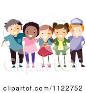 Cartoon Of A Group Of Happy Diverse Boys And Girls Royalty Free Vector Clipart